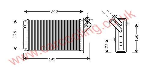 Heater Matrix, Fiat Scudo, All cc, 1996-   (01/96-), All Man / Auto, vehicles with or without A/C, 302 - 170 - 40mm , [ 16CN309 ]