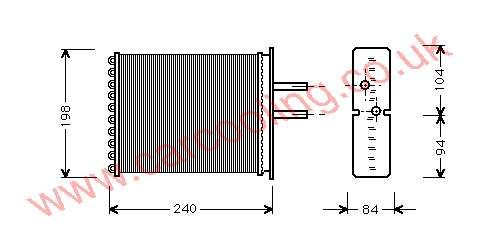 Heater Matrix, Fiat Barchetta, 1747 cc, 1995-   (05/95-), 1.8 i -16V. Manual, 200 - 176 - 42mm (Valeo ) , [ 16FT307 ]