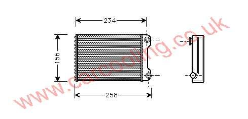 Heater Matrix, Fiat Punto II, 1999-   (08/99-), All Man / Auto, vehicles without A/C, 202 - 148 - 35mm (Valeo ) , [ 16FT310 ]