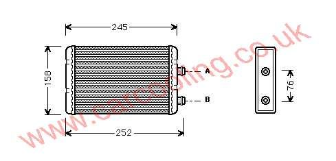 Heater Matrix, Fiat Punto II, 1999-   (08/99-), All Man / Auto, vehicles with A/C, 208 - 158 - 32mm (Magneti Marelli ) , [ 16FT311 ]