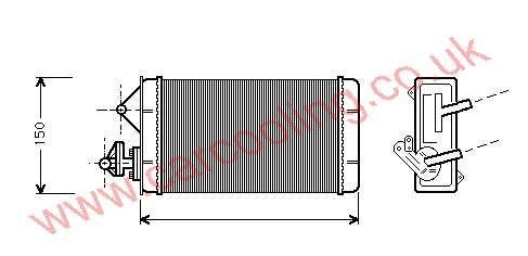 Heater Matrix, Fiat Fiorino II, 1988-01 (01/88-05/01) Manual, 216 - 156 - 36mm , [ 16FT312 ]
