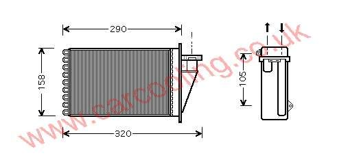Heater Matrix, Fiat Marea, 1999-   (03/99-), All Diesel Man / Auto, vehicles with A/C, 260 - 158 - 42mm , [ 16FT315 ]