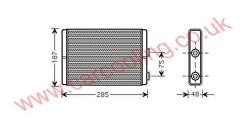 Heater Matrix, Fiat Ulysse, All cc, 2002-   (06/02-), All Man / Auto, vehicles with or without A/C, 250 - 180 - 33mm , [ 16FT322 ]