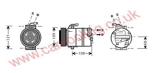Compressor, Opel Omega - B, 2172 cc, 2000-03 (08/00-08/03), 2.2 Turbo Diesel Man / Auto, vehicles with A/C ((KZ : NR)  X1079424 ---> ) , [ 1kol314 ]