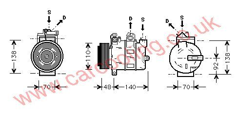 Compressor, Opel Zafira, 1796 cc, 2000-   (07/00-), 1.8 i - 16V. Man / Auto, vehicles with A/C ((KZ : MW )+ / -  Rear AC ) , [ 1kol319 ]