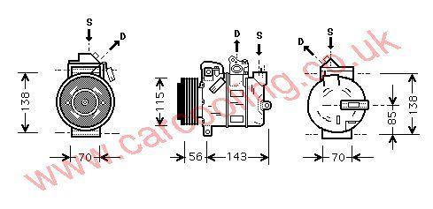 Compressor, Opel Zafira, 1995 cc, 2000-   (07/00-), 2.0 TDi     Turbo Diesel Manual, vehicles with A/C ((KZ : RU )---> 22109974 ) , [ 1kol320 ]