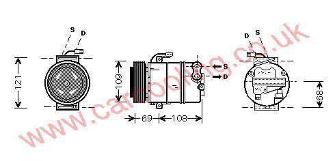 Compressor, Opel Zafira, 1995 cc, 1999-00 (02/99-06/00), 2.0 Di     Diesel Manual, vehicles with A/C ((KZ : SX )  22109975 ---> ) , [ 1kol321 ]