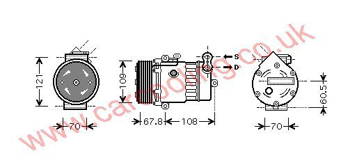 Compressor, Opel Corsa - C, 1686 cc, 2003-   (08/03-), 1.7 CDTi      Turbo Diesel Manual, vehicles with A/C ((KZ : RL ) ) , [ 1kol324 ]