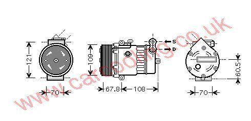 Compressor, Opel Corsa - C, 1686 cc, 2000-03 (09/00-07/03), 1.7 Di      Diesel Manual, vehicles with A/C ((KZ : RL ) ) , [ 1kol324 ]